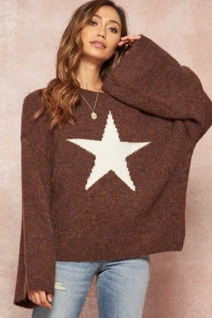 Dropped  Shoulder Fuzzy Knit Sweater